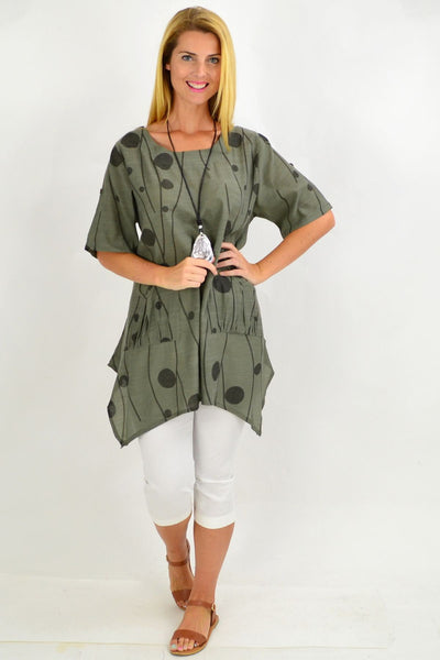 Khaki Deb Dots Tunic Top | I Love Tunics | Tunic Tops | Tunic | Tunic Dresses  | womens clothing online