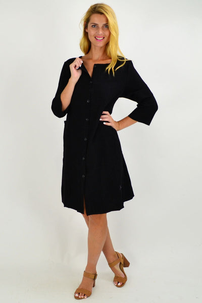 Black Button Up Tunic Dress