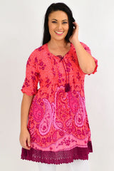 Orange Pink Paisley Lace Trim Tunic Top | I Love Tunics | Tunic Tops | Tunic | Tunic Dresses  | womens clothing online