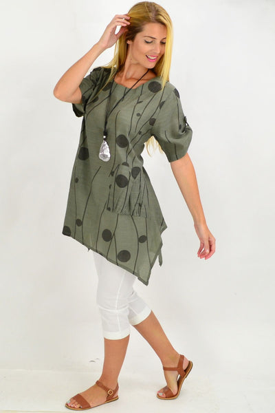 Khaki Deb Dots Tunic Top