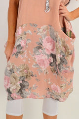 Navy Linda Leaf Tunic Dress