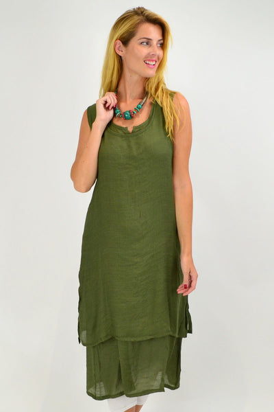 Olive Green V Sleeveless Layered Tunic Dress | I Love Tunics | Tunic Tops | Tunic | Tunic Dresses  | womens clothing online