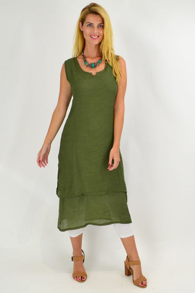 Olive Green V Sleeveless Layered Tunic Dress