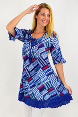 Blue Line Pattern Lace Trim Tunic Top | I Love Tunics | Tunic Tops | Tunic | Tunic Dresses  | womens clothing online