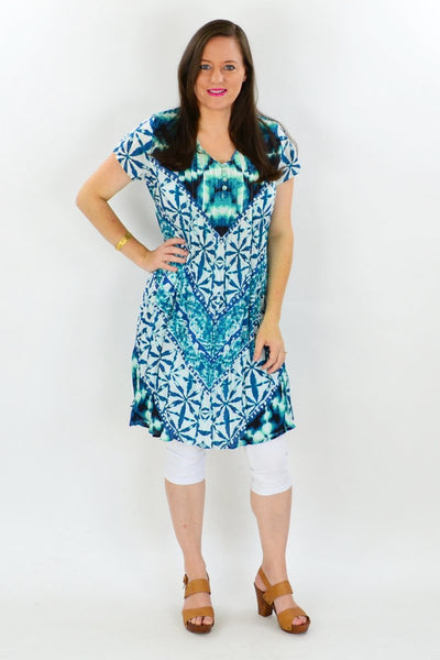 Aqua Print Cotton Tunic Dress