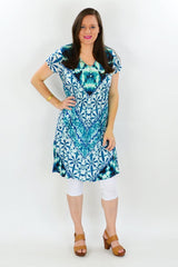 Aqua Print Cotton Tunic Dress | I Love Tunics | Tunic Tops | Tunic Dresses | Women's Tops | Plus Size Australia | Mature Fashion