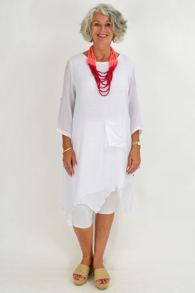 White Nora Long Tunic Top