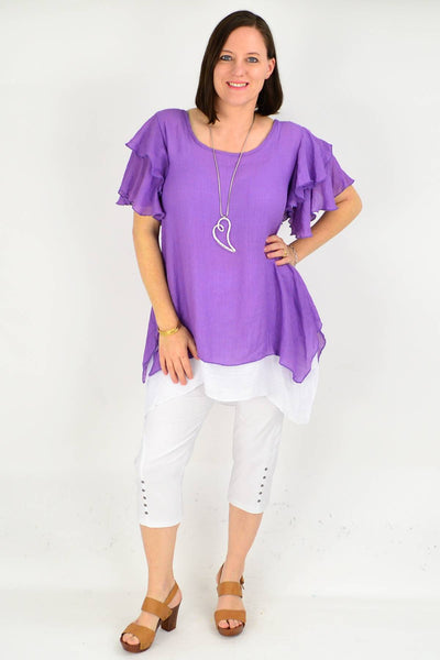 Purple Cotton Ruffle Sleeve Tunic Blouse