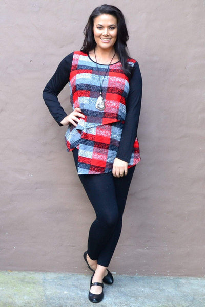 Red Grey Overlay Tunic Top | I Love Tunics | Tunic Tops | Tunic | Tunic Dresses  | womens clothing online