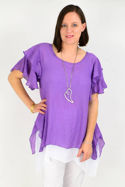 Purple Cotton Ruffle Sleeve Tunic Blouse | I Love Tunics | Tunic Tops | Tunic | Tunic Dresses  | womens clothing online