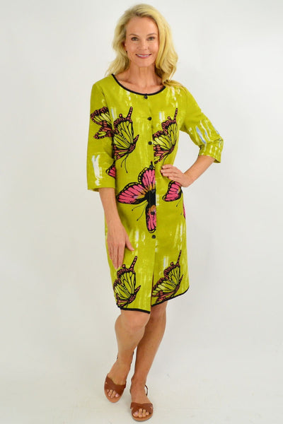 Lime Green Butterfly Button Up Tunic Dress - I Love Tunics