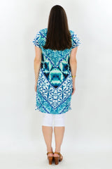 Aqua Print Cotton Tunic Dress | I Love Tunics | Tunic Tops | Tunic | Tunic Dresses  | womens clothing online