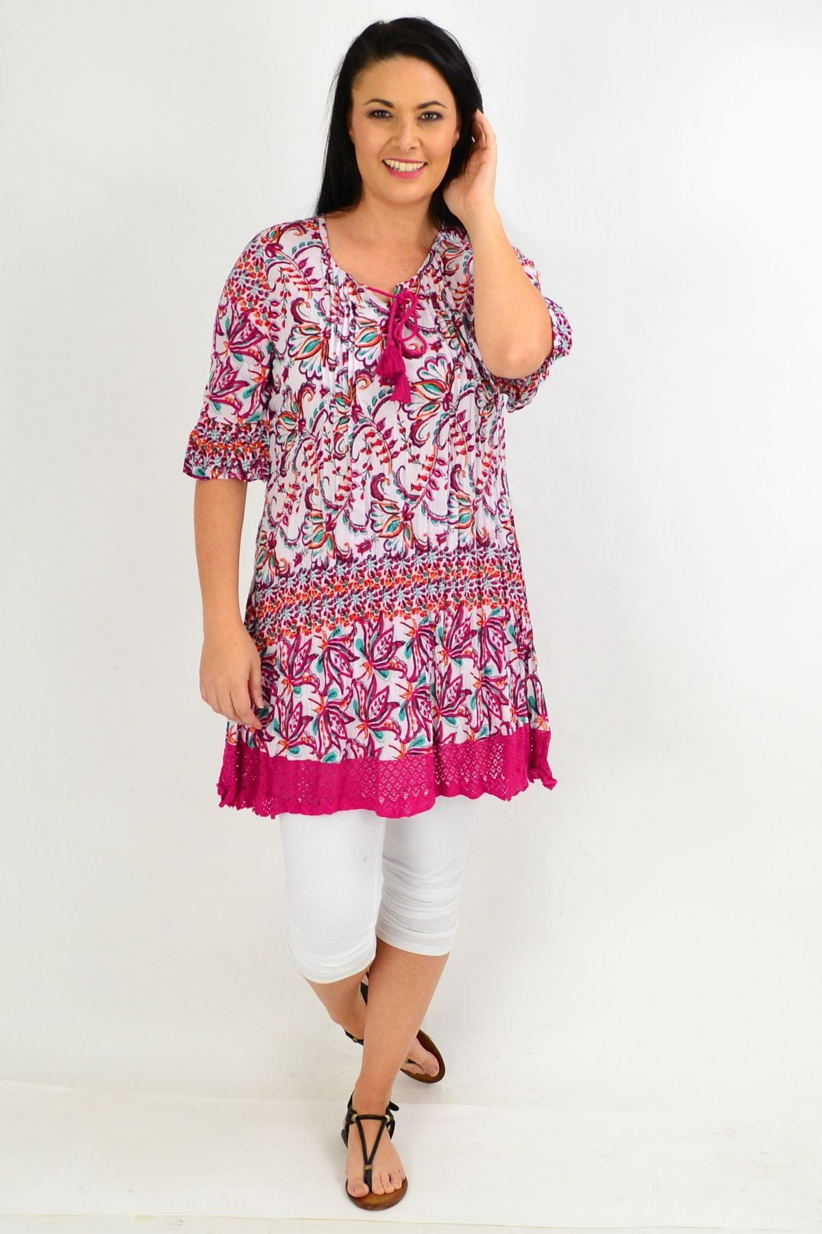Fuchsia Floral Trim Tunic Top | I Love Tunics | Tunic Tops | Tunic | Tunic Dresses  | womens clothing online