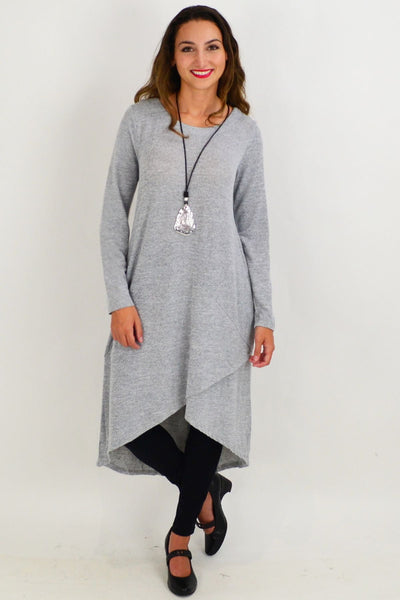 Grey Andy Long Knit Tunic