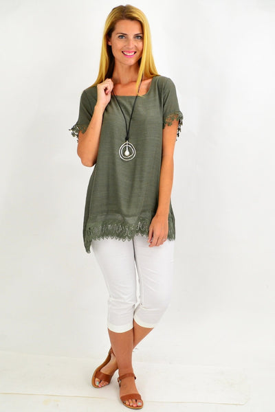 Khaki Lace Trim Tunic Top