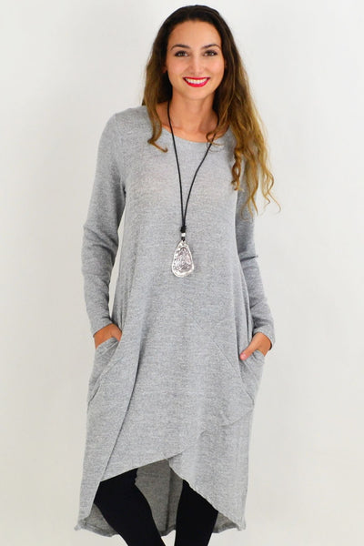 Grey Andy Long Knit Tunic | I Love Tunics | Tunic Tops | Tunic | Tunic Dresses  | womens clothing online