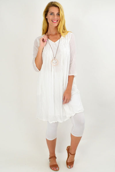 White Alice Crinkle Cotton Tunic Dress