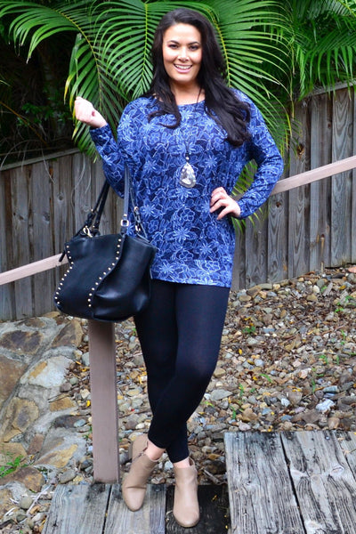 Blue floral Long Sleeve Tunic Top | I Love Tunics | Tunic Tops | Tunic | Tunic Dresses  | womens clothing online