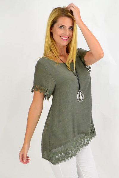 Khaki Lace Trim Tunic Top | I Love Tunics | Tunic Tops | Tunic | Tunic Dresses  | womens clothing online