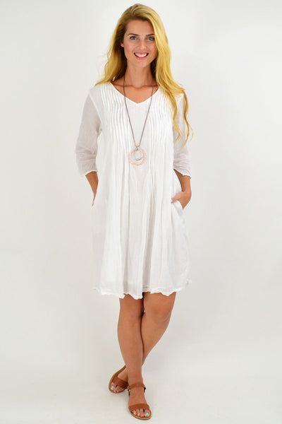 White Alice Crinkle Cotton Tunic Dress | I Love Tunics | Tunic Tops | Tunic | Tunic Dresses  | womens clothing online