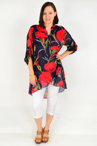 Navy Floral Button up Sleeve Tunic Shirt