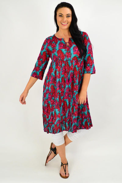 Red Aqua Floral Tie Neck Tunic Dress - I Love Tunics