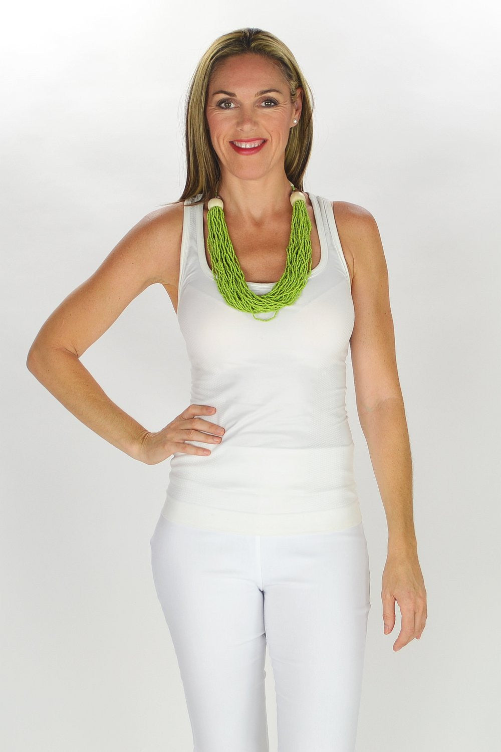 Green Seed Bead Necklace - at I Love Tunics @ www.ilovetunics.com = Number One! Tunics Destination
