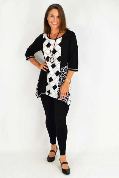 Sharon Black White Floral Tunic Top
