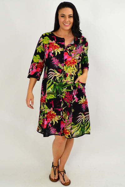 Floral Bouquet Button Up Tunic Dress - I Love Tunics