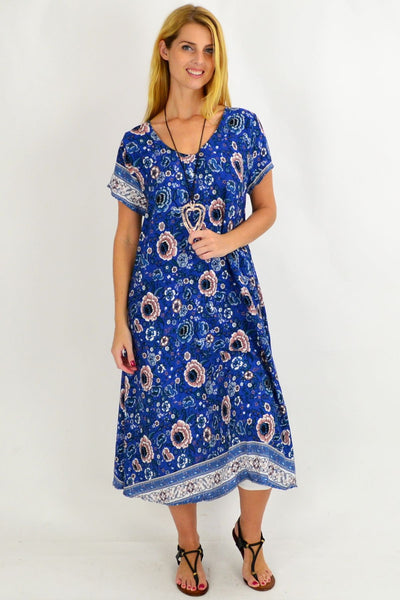 Long Hawaii Blue Tunic Dress