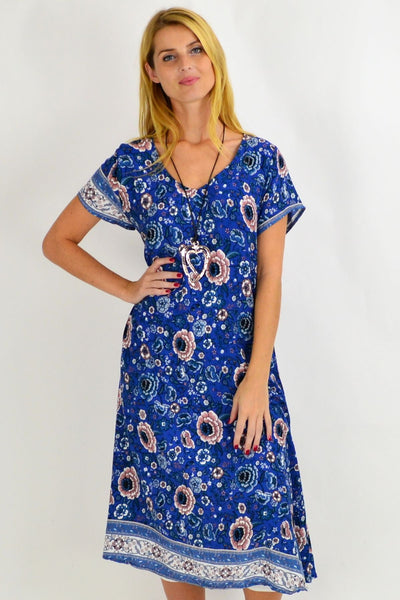 Long Hawaii Blue Tunic Dress | I Love Tunics | Tunic Tops | Tunic Dresses | Women's Tops | Plus Size Australia | Mature Fashion