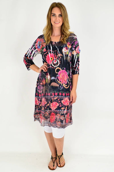 Black Floral Lace Trim Tunic Dress