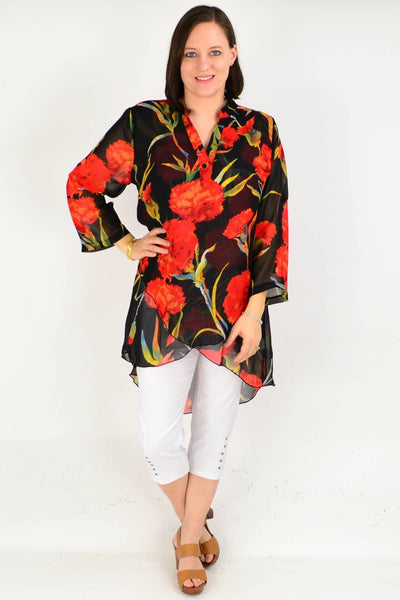 Black Floral Button up Sleeve Tunic Shirt