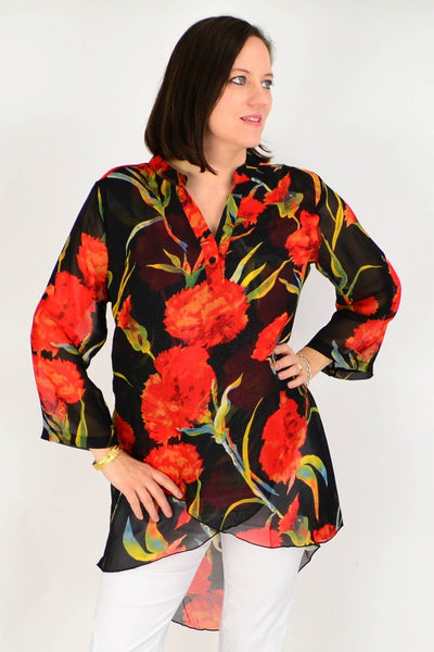Black Floral Button up Sleeve Tunic Shirt | I Love Tunics | Tunic Tops | Tunic Dresses | Women's Tops | Plus Size Australia | Mature Fashion