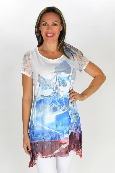 Blue Sunflower Tunic - I Love Tunics @ www.ilovetunics.com