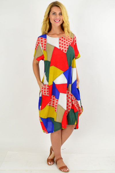 Colourful Patch Pattern Tunic Dress