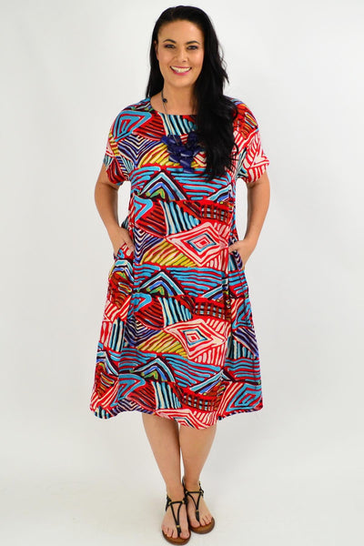 Red Multicolour Shift Tunic Dress