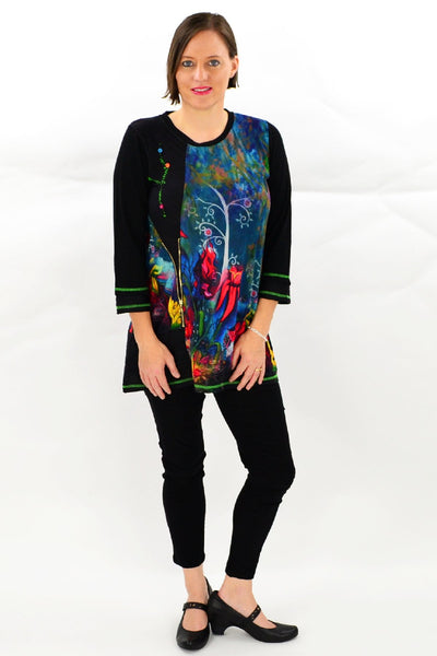 Floral Elisa Tunic Top - at I Love Tunics @ www.ilovetunics.com = Number One! Tunics Destination