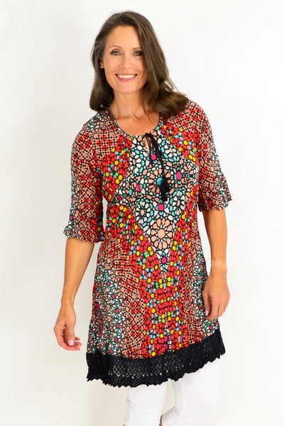 Peach Candy Short Sleeve Colourful Tunic