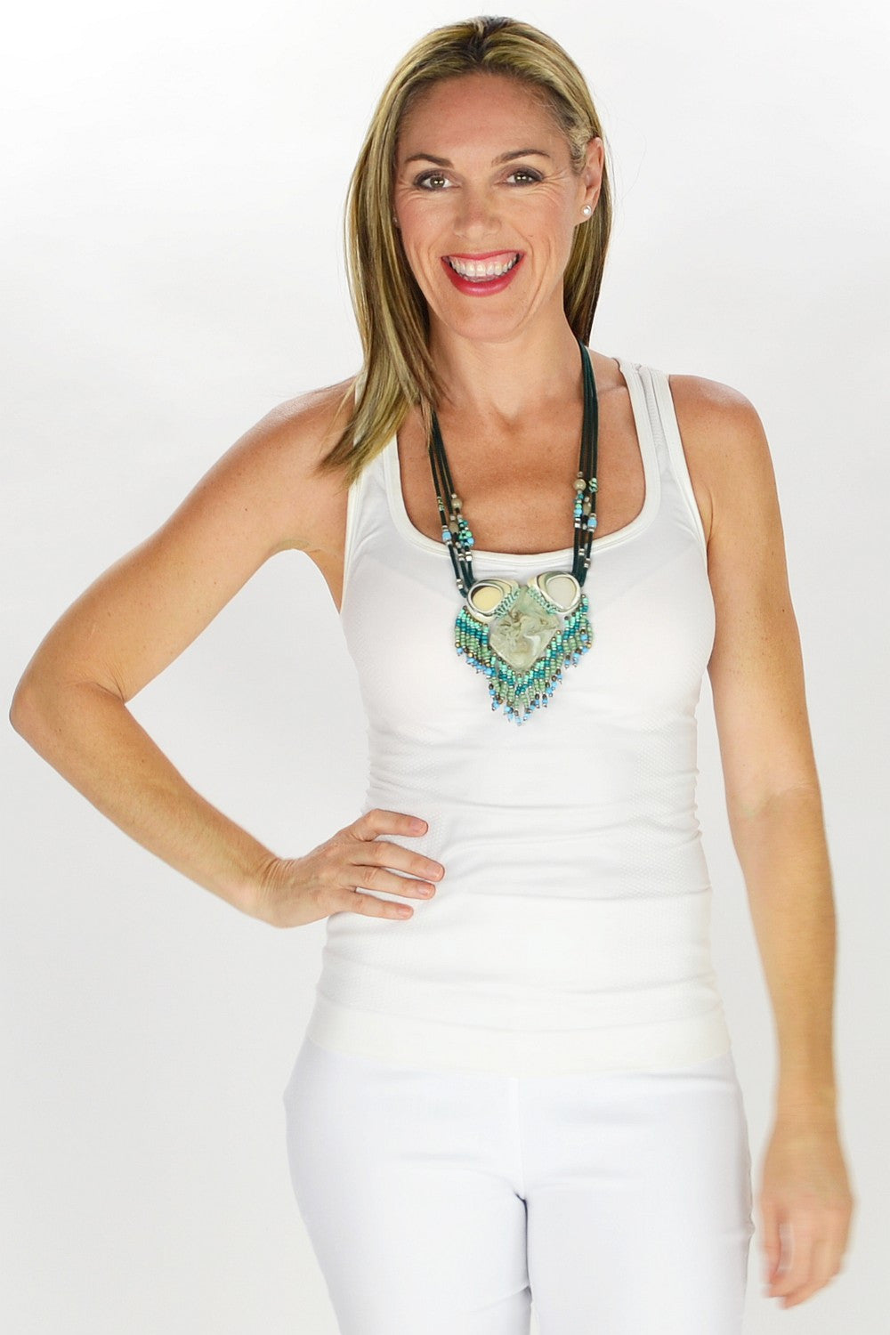Aqua Beads Pendant Necklace | I Love Tunics | Tunic Tops | Tunic | Tunic Dresses  | womens clothing online