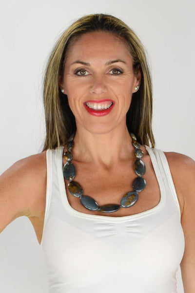 Grey & Mustard Large Beads Necklace