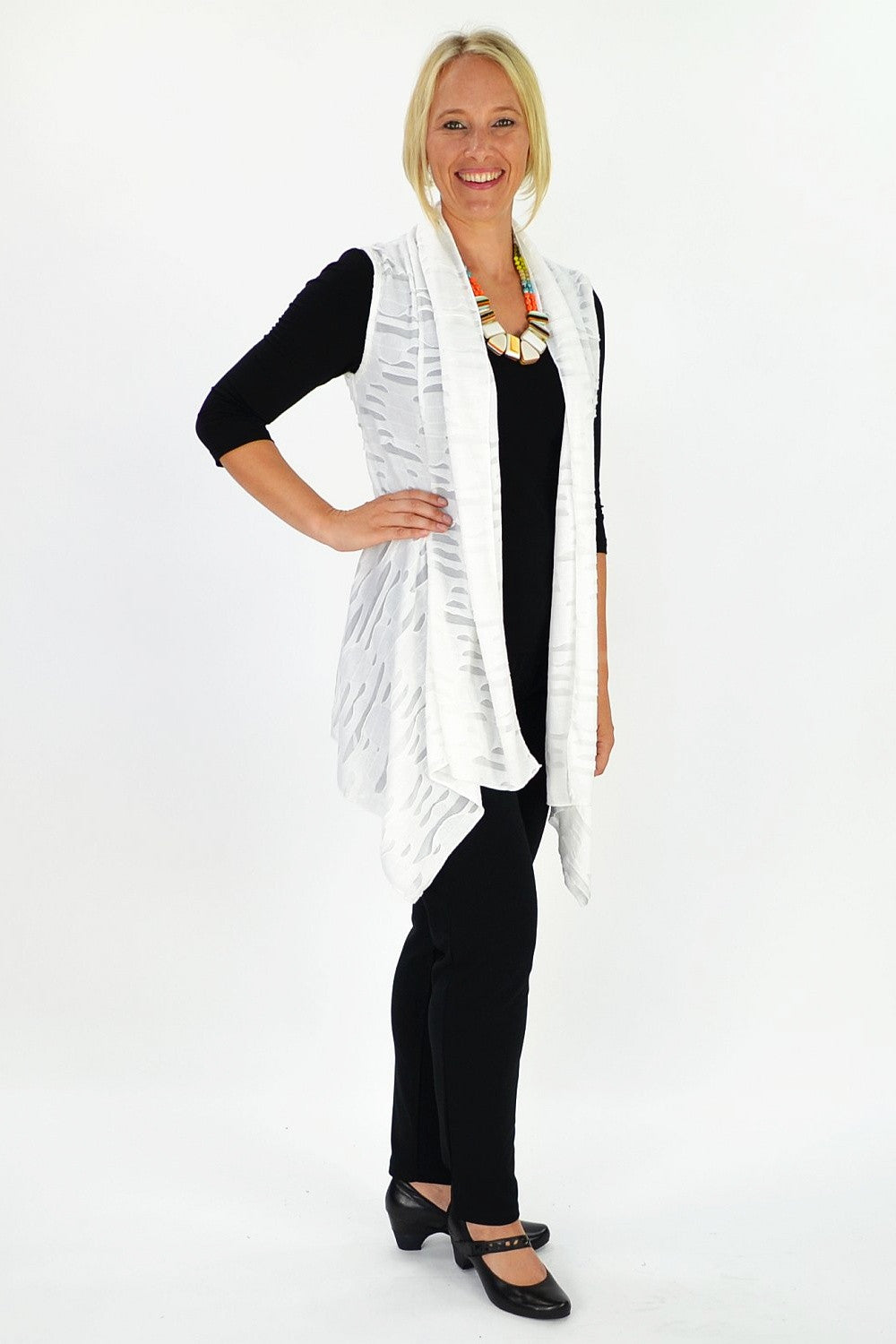 White Pointed Vest - at I Love Tunics @ www.ilovetunics.com = Number One! Tunics Destination