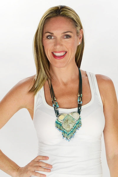 Aqua Beads Pendant Necklace - at I Love Tunics @ www.ilovetunics.com = Number One! Tunics Destination