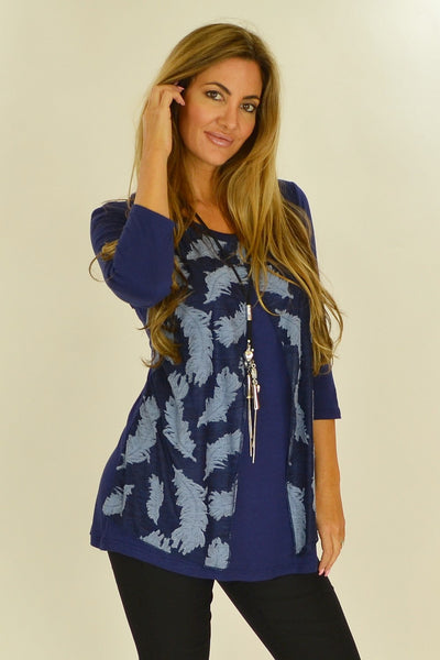 Navy Heather Feathers Tunic