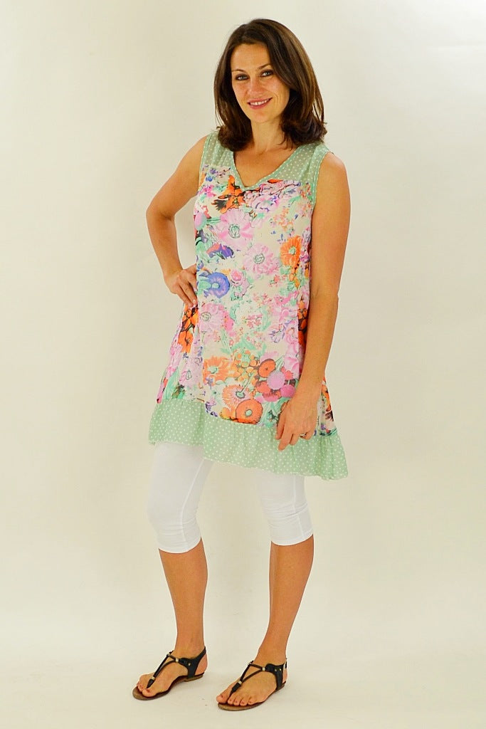 Orange Meadow Flowers Tunic | I Love Tunics | Tunic Tops | Tunic | Tunic Dresses  | womens clothing online