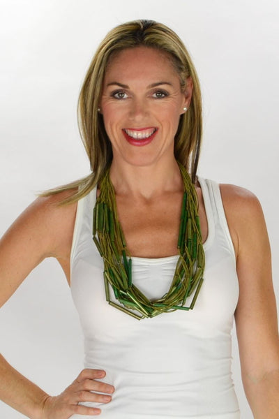 Green Wooden Tubes Necklace