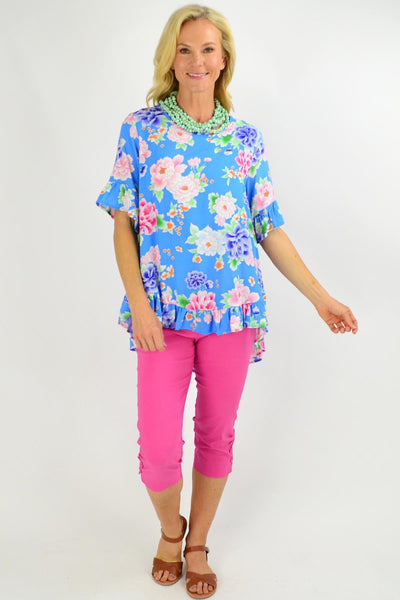 Sky Blue Floral Swing Tunic Top