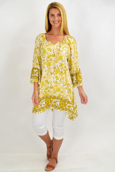 Mustard Green Floral Light & Pretty Tunic Top