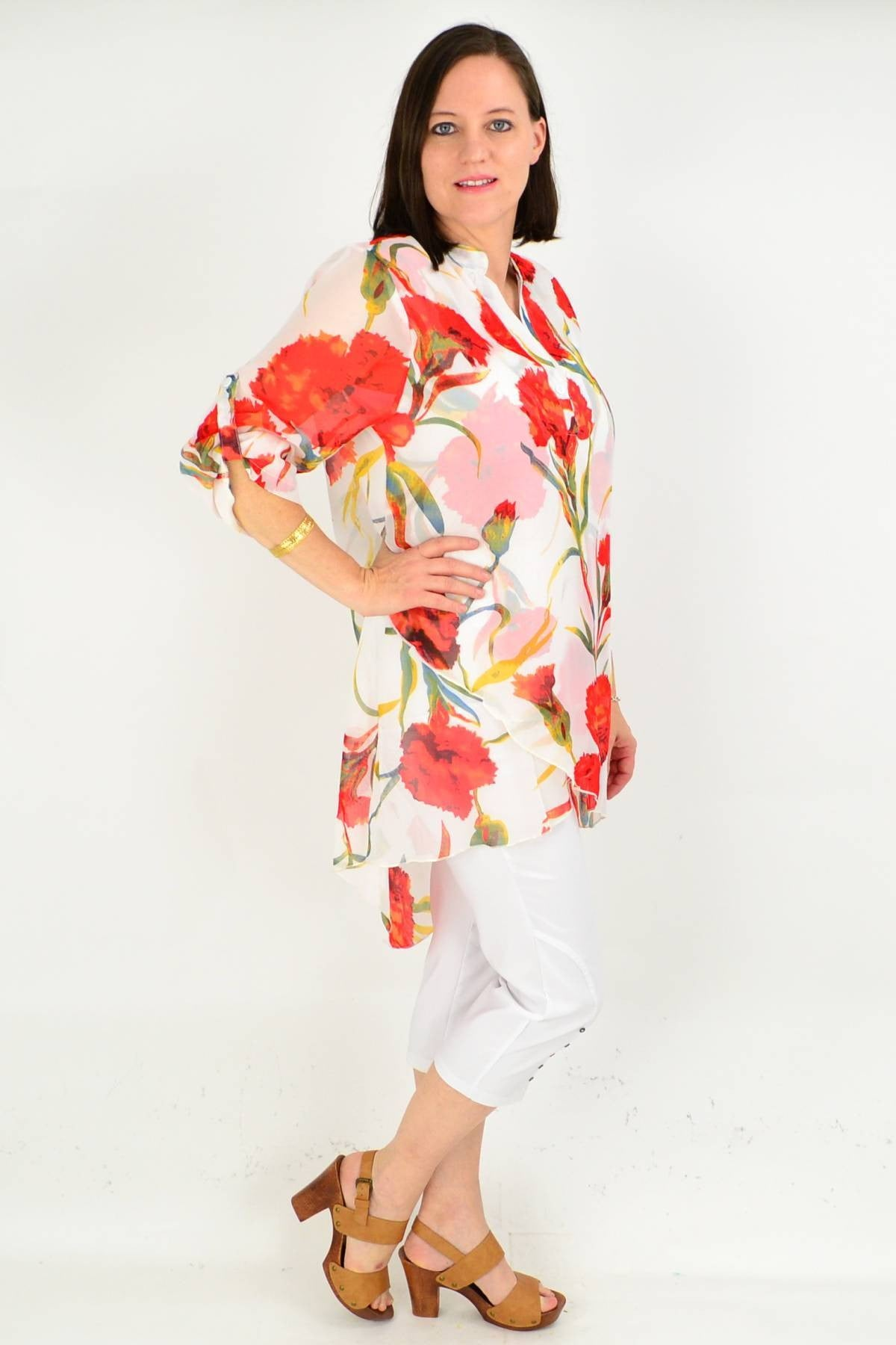 White Floral Button up Sleeve Tunic Shirt