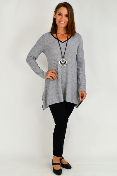 Motto Silver Rib Havana Tunic Top